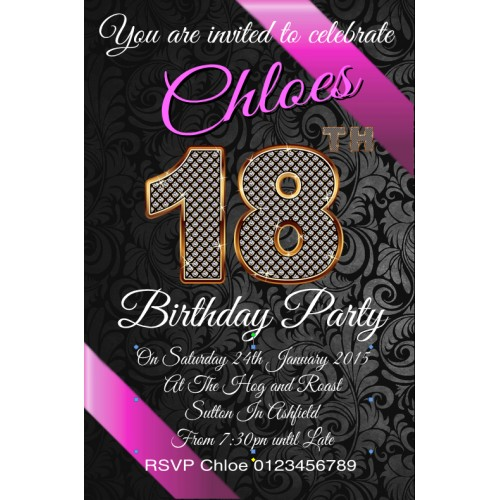 Personalised Birthday 18th Invites Invitations – Personalised 18th Birthday Invitations