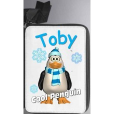 Personalised Deluxe Cool Penguin Pencil Case fully loaded with contents (Pens, Felts, Ruler, Pencils and much more)
