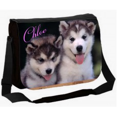 Large School / College Personalised Messenger Bag (HUSKY Puppy)