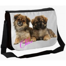 Large School / College Personalised Messenger Bag (Alsatian puppy dogs)
