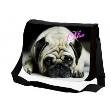 Large School / College Personalised Messenger Bag (Pug Dog Puppy)