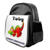 Kids Personalised Dinosaur Ruck Sack School Bag (Available in Black / Blue)
