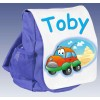 Kids Personalised Car  Ruck Sack School Bag (Available in Red / Blue)