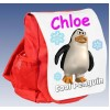 Kids Personalised  Cool Penguin Ruck Sack School Bag (Available in Red / Blue)