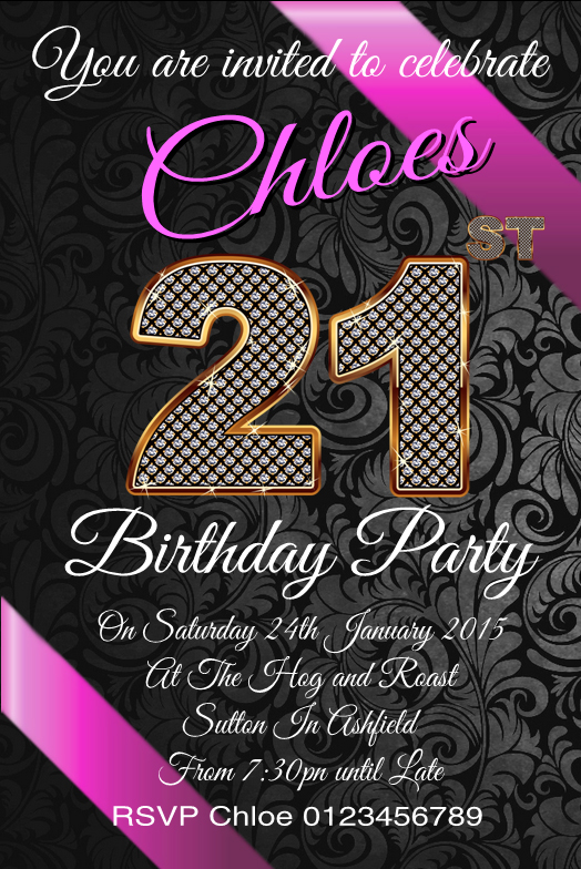 Personalised Birthday 21st Invites Invitations – Personalised 21st Birthday Invitations