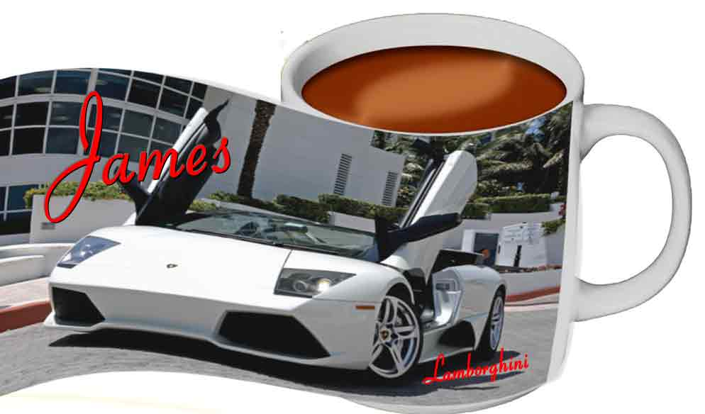 Personalised Lamborghini Dishwasher proof mug